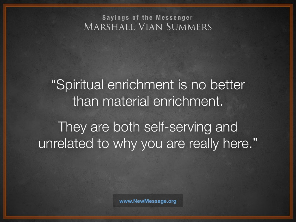 Spiritual and Material Enrichment