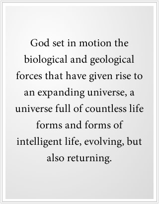 God set in motion the origin of life