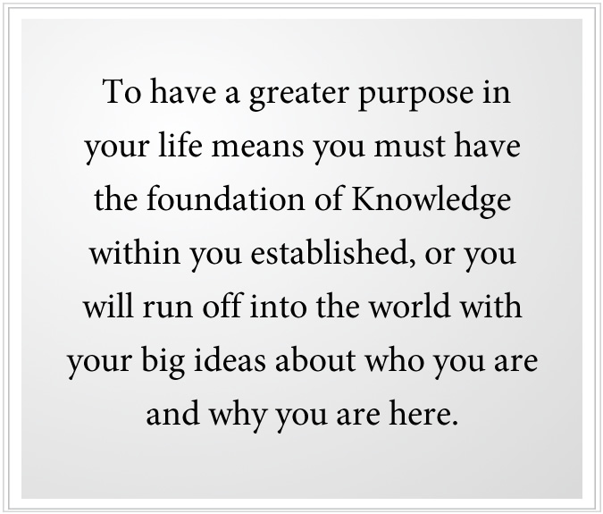 greater purpose in life needs Knowledge