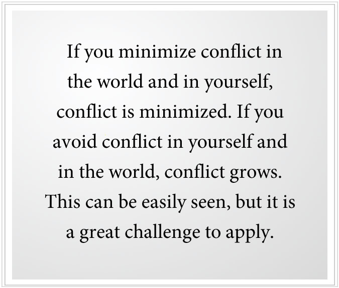 minimize conflict in the world