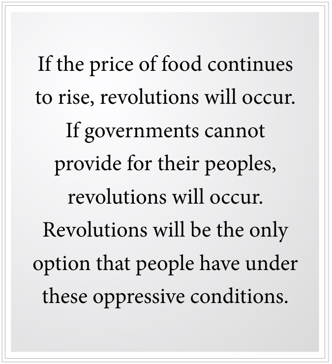 f food prices continue to rise, revolution will occur