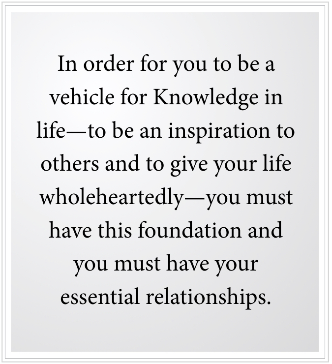 to be an inspiration you must have essential relationships with others