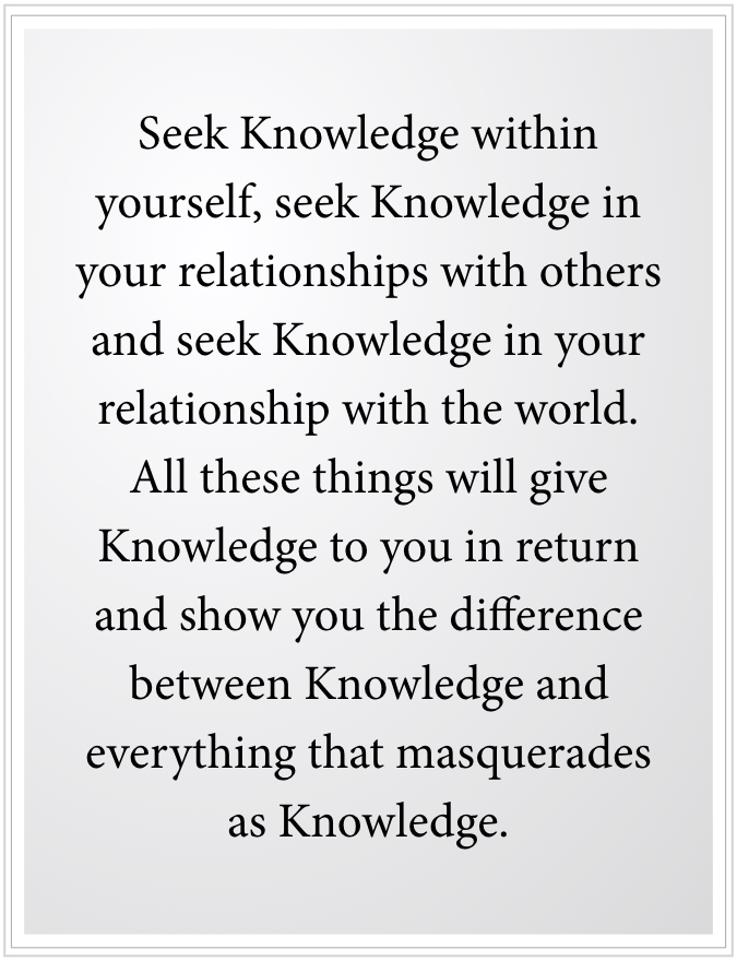 seek knowledge within